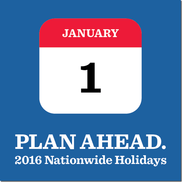 2016 Nationwide Holidays in the Philippines